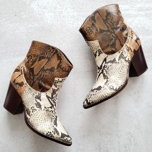 SCHUTZ Haven Snakeskin Leather Western Ankle Boots